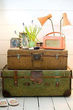.Old Trunks, Side Tables, Vintage Suitcases, Vintage Tables, Old Suitcases, Spare Room, Lounges Room, Vintage Furniture, Vintage Style