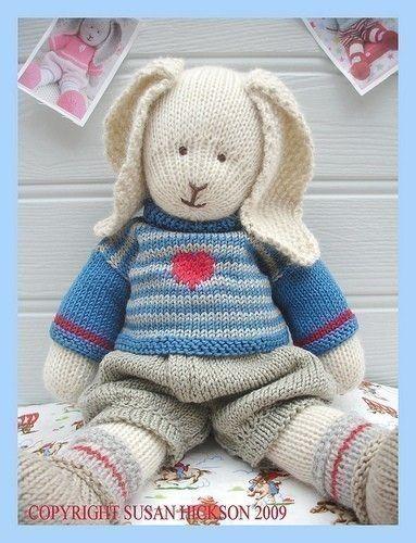 OSCAR RABBIT / Bunny/ Knitted Toy PDF email pattern/ Toy Knitting Pattern