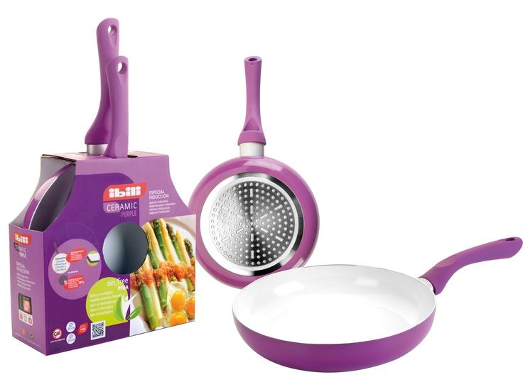 INDUCTA NEW: Lote 2 sartenes ceram purpura // 20+24cm 2 fry pan set Ceram Purpura // Lot 2 poêles  20+24cm Ceram Purpura
