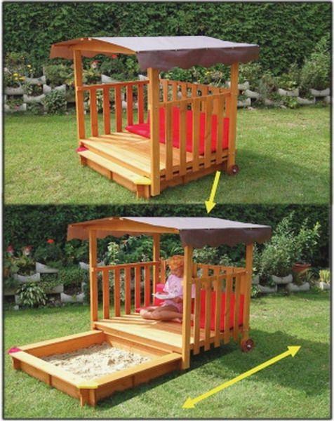 New Big Wood Sandbox Play Deck Combo 54 034 Playground Sand Box with Canopy   eBay