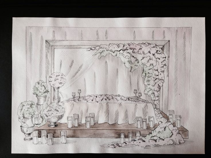 Sketch for pink&chocolate wedding