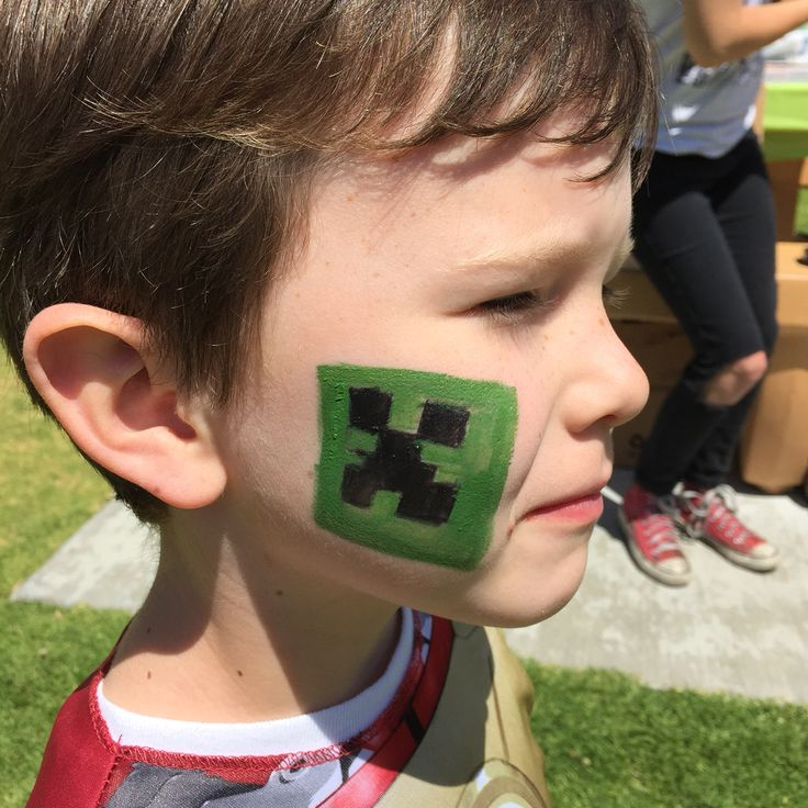 Minecraft face painting aiden 39 s minecraft birthday party for Face painting for parties