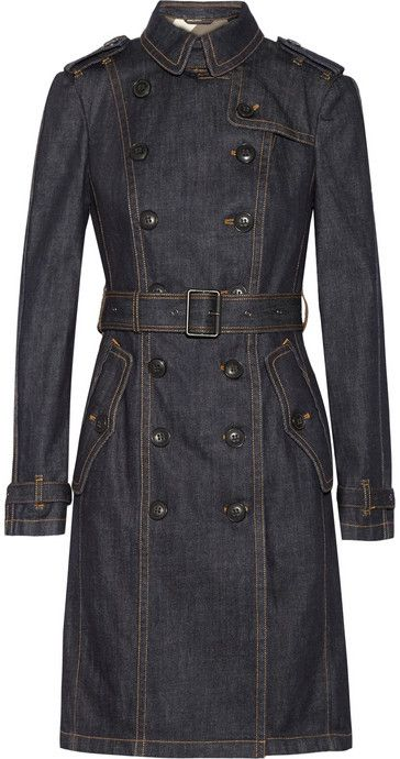 $1,095, Burberry Brit Denim Trench Coat. Sold by NET-A-PORTER.COM. Click for more info: https://lookastic.com/women/shop_items/208876/redirect