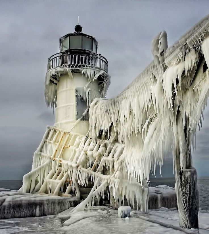 Winter, ice, snow, frost, blizzard, beauty, lighthouse