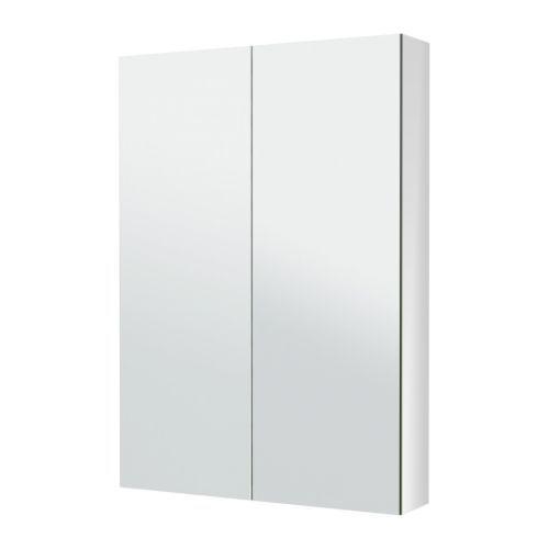 IKEA - GODMORGON, Spiegelkast met 2 deuren, 80x14x96 cm, -, , De spiegel is aan de achterkant voorzien van een beschermfilm, waardoor het risico op letsel vermindert als het glas zou versplinteren.