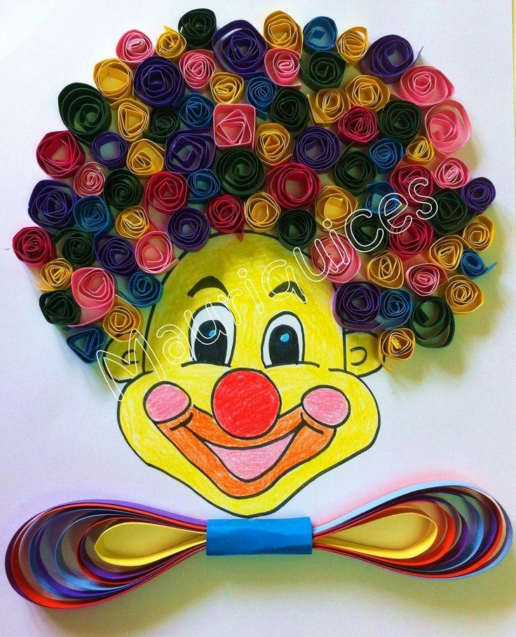 Com lápis de cor pintámos a cara de um palhaço. Com cartolinas de várias cores cortadas em tirinhas fizemos muitos rolinhos que colámo...