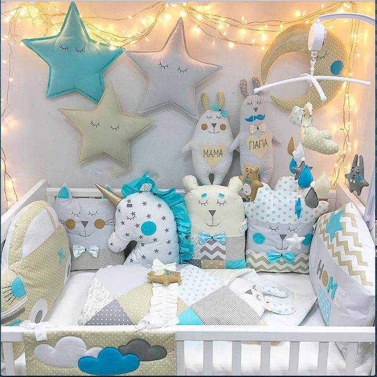 Уютные бортики в кроватку для мальчика в подарок Волшебные игрушки - малышу для уютного сна и отдыха. Эксклюзивная ручная работа, оригинальная дизайнерская идея, материал – натуральный американский хлопок, наполнитель – холлофайбер. Одеяло в стиле пэчворк, с аппликацией ручной работы, мо