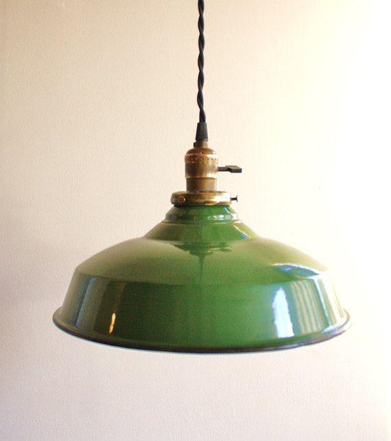 Vintage green enamel pendant lamp-need to work this into future kitchen plans.