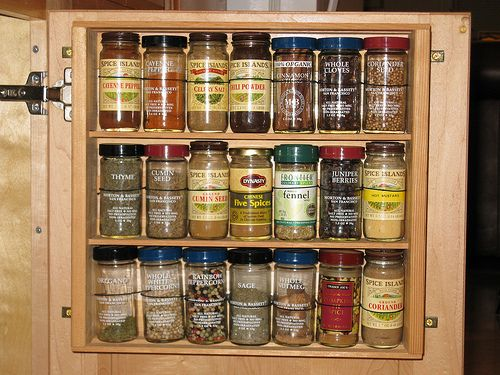 Spice Rack Inside Kitchen Cabinet Door ** Could Use A Medicine Cabinet Too!