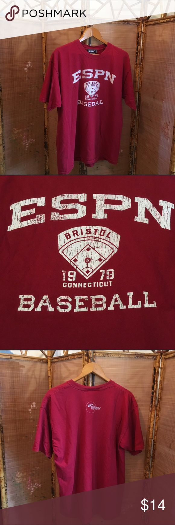 """Classic ESPN Baseball Tonight tee shirt GUC Classic ESPN 100% cotton distressed red tee shirt. Front has """"ESPN"""", """"Bristol Connecticut"""", a printed baseball diamond, """"1979"""", and """"Baseball"""" all written in white. Back is red with """"Baseball Tonight"""" logo in white. All items come from a smoke free home. Measurements available upon request. All questions are welcome. ESPN Shirts Tees - Short Sleeve"""