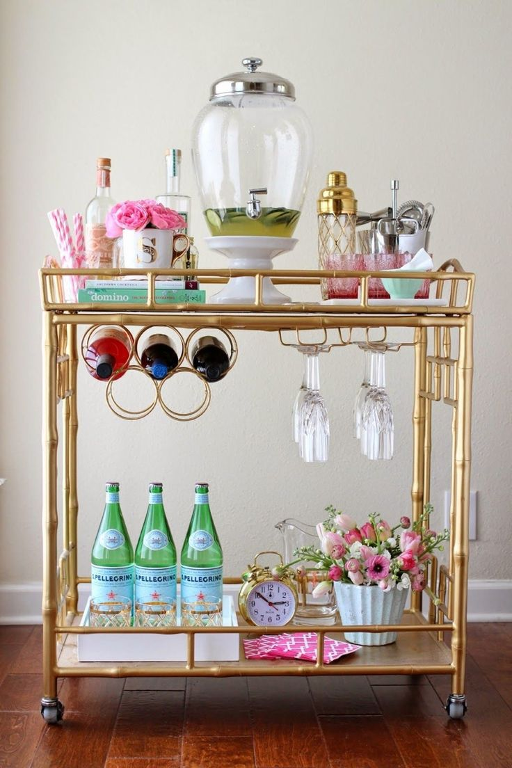 Decorate a bar cart with sparkling beverages and flowers. #WeekendWhyNots