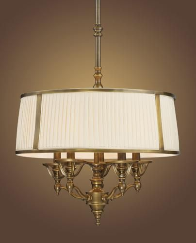 Drum Shades For Chandeliers: Five Light Pleated Shade Vintage Brass Patina Drum Shade Chandelier :  V3-0777-VBP,Lighting