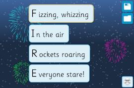 Acrostic Poem Maker - Fireworks activity