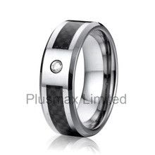 rings wholesale jewelry lots womens tungsten engagement rings with black carbon fiber and CZ diamond anillos de tungsteno