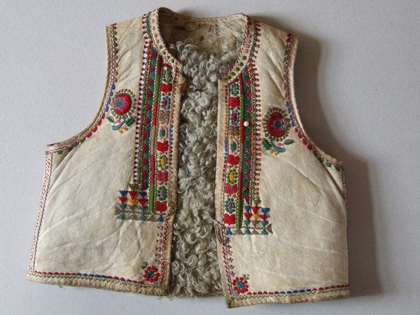 "Man's vest from Transylvania, Gyimes county, Gyimesfeksőlok village, 19th century. Home made leather tanning, called hungarian ""white tanning"", decorated with embroidery. Using only for feast days."