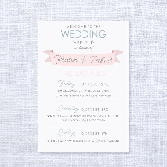Wedding Gift Bag Itinerary : In The Woods Wedding Itinerary Wedding Timeline of Events Nature ...