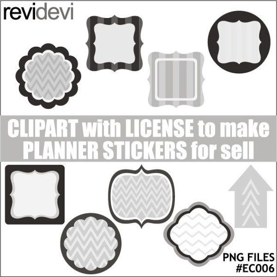 Labels frames tags clipart  shades of gray  commercial by revidevi