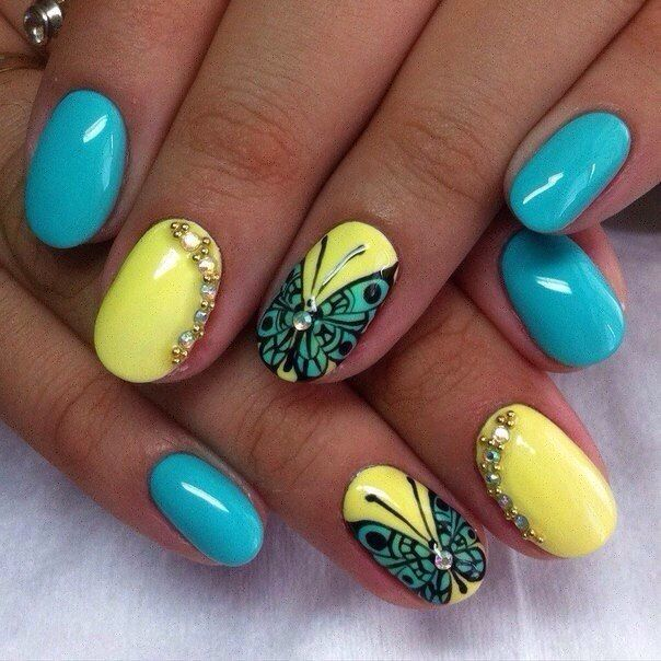 Beautiful summer nails, Blue and yellow nails, Bright summer nails, Butterfly nail art, Jeans nails, Manicure by summer dress, Nails with gems, ring finger nails