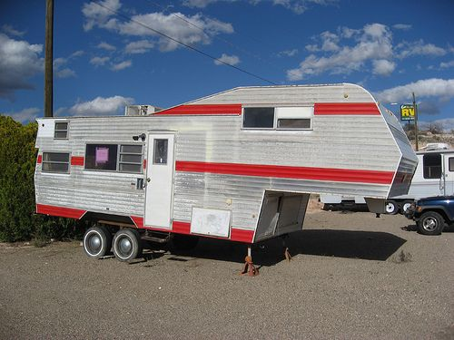 """I don't know why this one looks so """"high water"""" unless it was gutted inside. The windows were too high to see inside and it had a padlock on the door.   Check out RV Tire Pressure Monitors"""