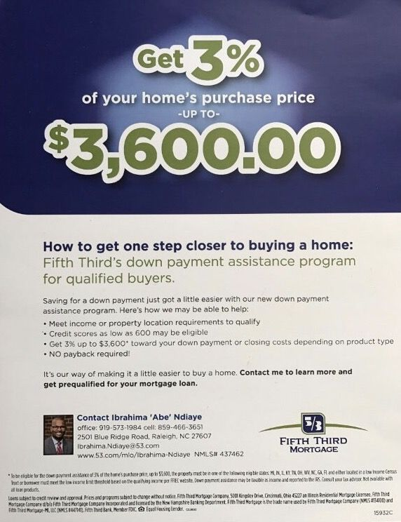 Fifth Third Mortgage Down Payment Assistance Program for qualified buyers. Who do you know who could benefit from this program? Let's talk! Corey.miller@kw.com