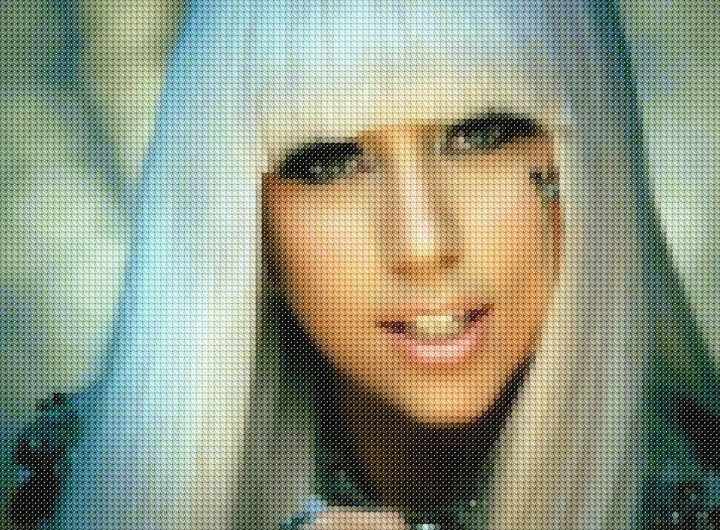 Cross-stitched Lady Gaga mosaic