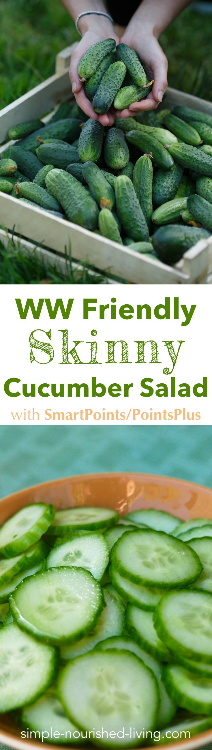 This simple Weight Watchers cucumber salad recipe comes together in less than ten minutes and is great on it's own as a low calorie snack. Or, as a side dish for lunch or supper. Only 36 calories, *0 SmartPoints/PointsPlus.