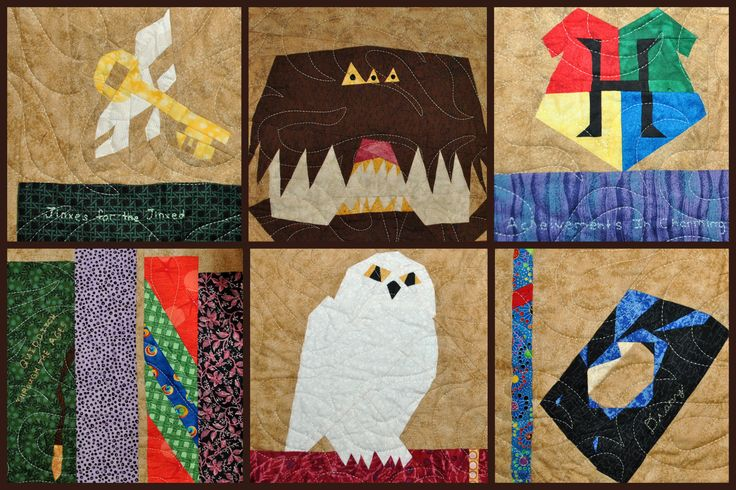 Harry Potter quilt close ups. I hand embroidered book titles on some of the book spines, using titles mentioned in the HP series.
