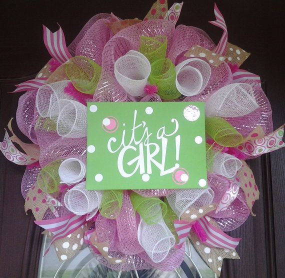 It's A Girl  Deco mesh wreath by KellumsKreations on Etsy, $45.00