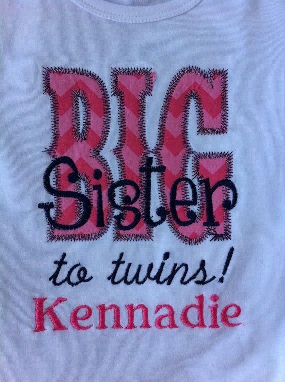 Big Sister Big Sis  Sibing Shirt  Long or Short by Rubyandoliver