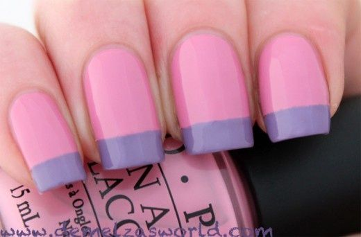French manicure nail art: two color colour design pink base with lilac light violet purple tips #pastels #spring #summer