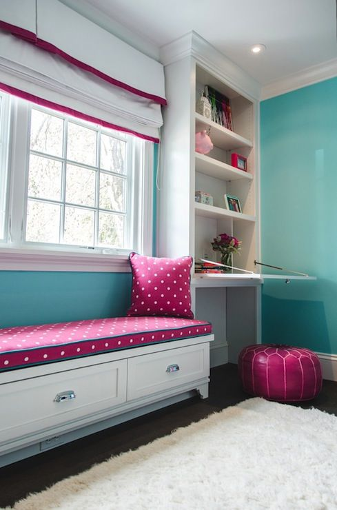 Evars and Anderson: Fun girls room with pink, white and turquoise color scheme! A custom ceiling height ...