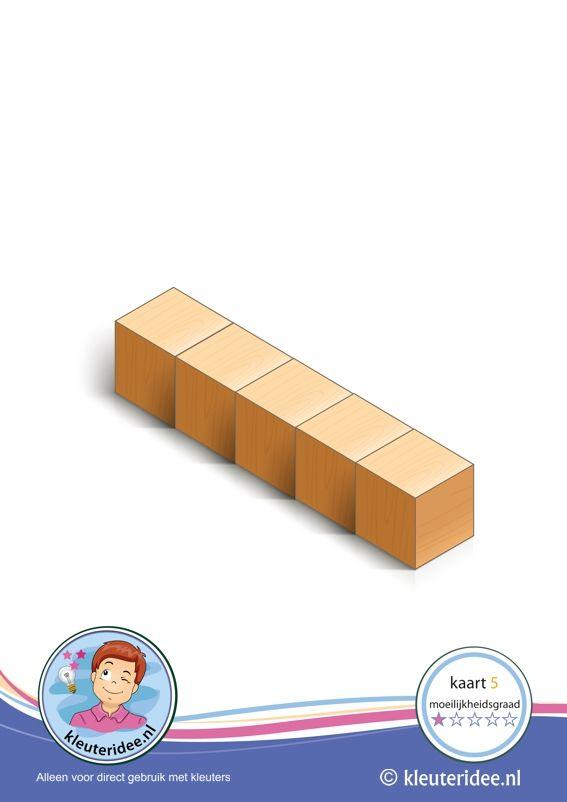 Er komen 50 bouwkaarten: Bouwkaart 5 moeilijkheidsgraad 1 voor kleuters, kleuteridee, Preschool card building blocks with toddlers 5, difficulty 1