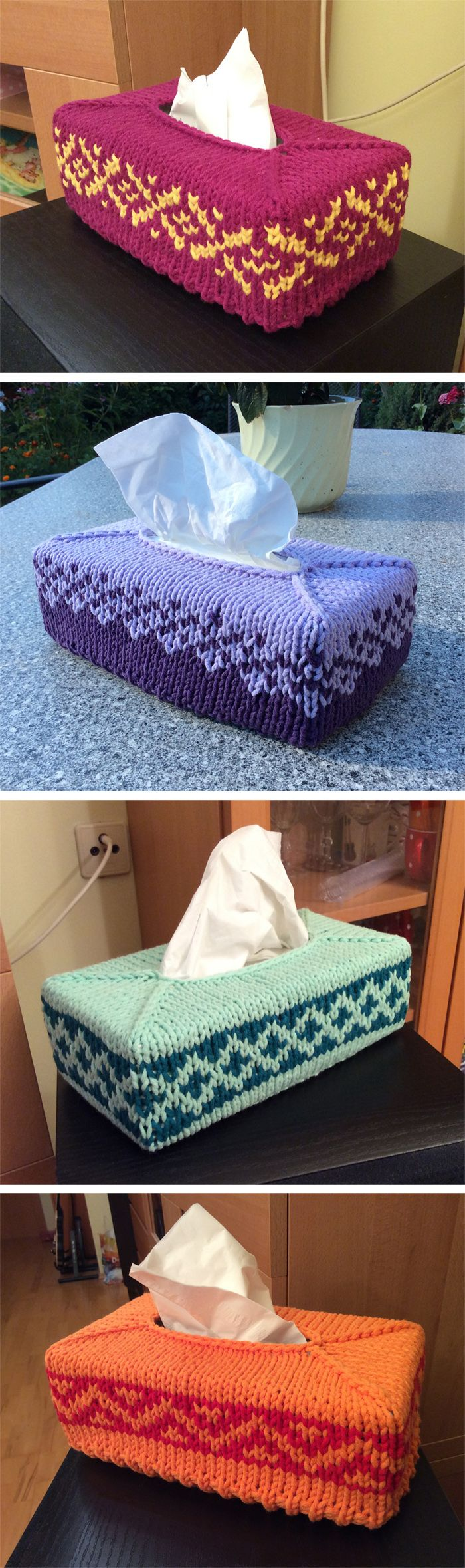 Free Knitting Pattern for Fair Isle Tissue Box Cover - Great stash buster and quick knit – designer says you can knit in an evening. Chunky yarn. Designed by Clair Thorley. The original pattern provides one chart pictured at the top. The pictured projects are by alterbridge who shares the charts used for those projects.