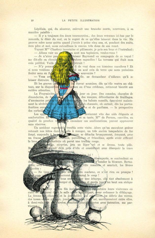 Digitaldruck - Alice im Wunderland mit Schwammerl, Champignon - ein Designerstück von MadameMemento bei DaWanda