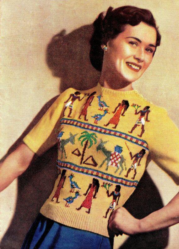 Vintage 40s Knitting Pattern Egyptian Fair Isle
