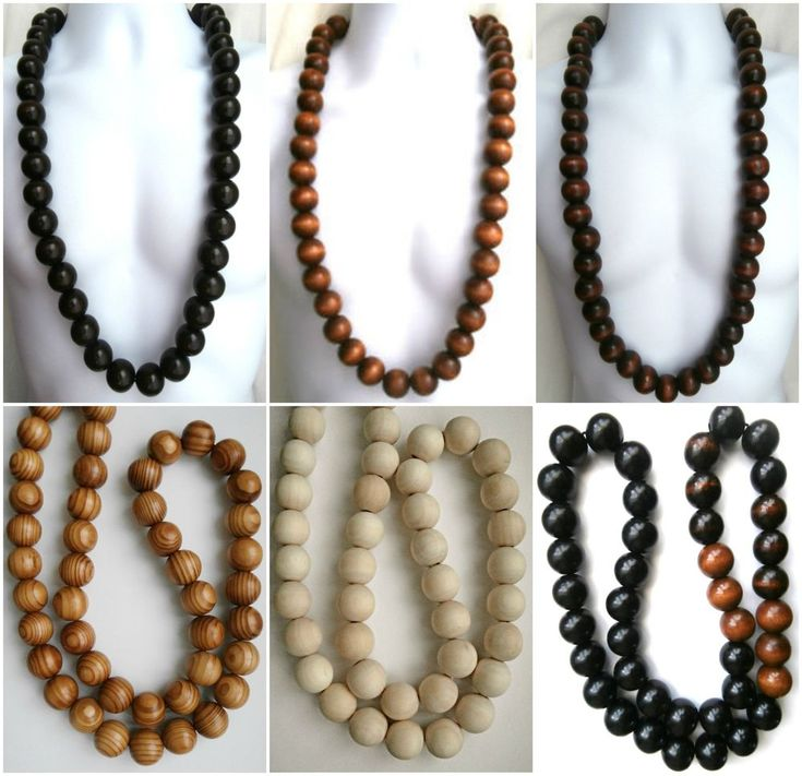 "Ethnic inspired: men's black brown cream 23 mm wood bead necklace choose 24-42"" | Beads"
