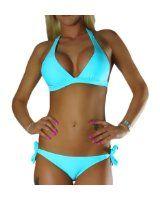 ALZORA Neckholder Damen Bikini Set Top und Hose türkis rosa pink , 10158: Amazon.de: Bekleidung