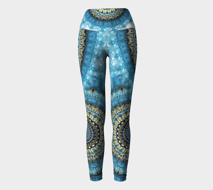 Blue Gold Mandala Yoga Pants