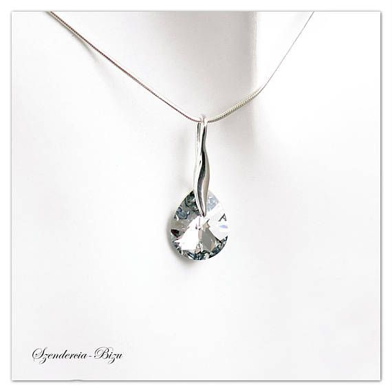 ef00c285e Beautiful 925 Silver Jewelry with Swarovski Elements: Mini Pear 12mm Crystal  Comet Argent Light.