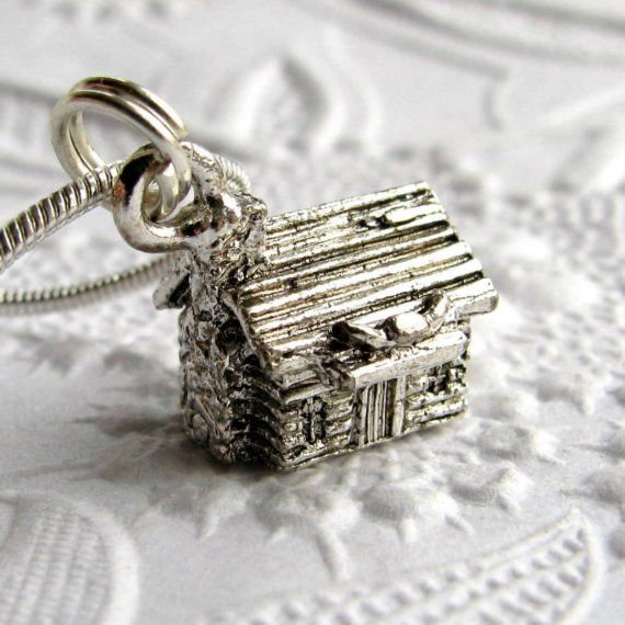 Log cabin charm necklace, antiqued silver pewter - wooden house, Western frontier home, American Pioneers, Republican, Abraham Lincoln