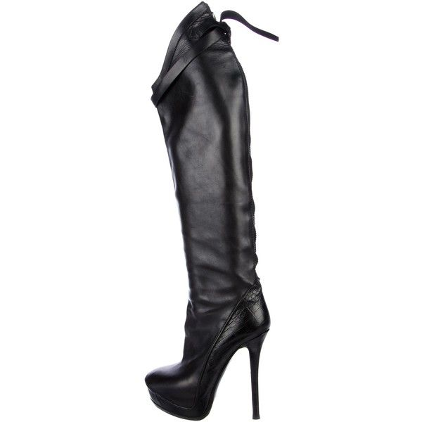 Pre-owned Haider Ackermann Thigh-High Platform Boots (€240) ❤ liked on Polyvore featuring shoes, boots, black, black leather boots, black leather shoes, black buckle boots, high platform boots and real leather boots