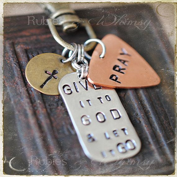"""Give it to God & Let it Go Keychain, Purse Charm, Christian Gift, Gift for Missionary, Inspirational Purse Charm, Adoption, Christian Gift  Use promo code """"STC10"""" for 10% off!"""