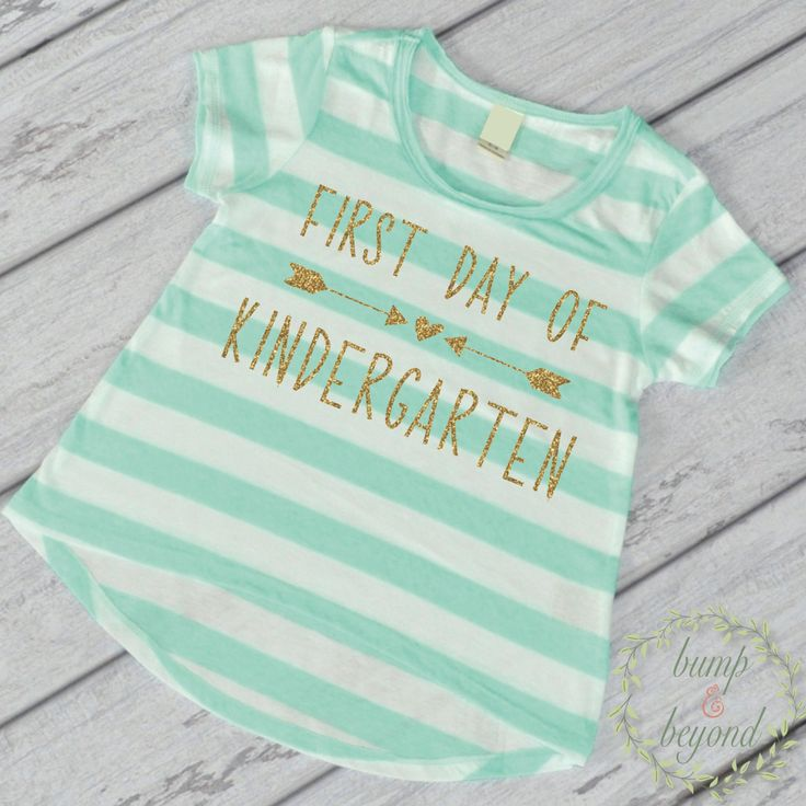 First Day of Shirt - This adorable high-low short sleeve top makes a great back to school outfit or photo prop! It features an all-over stripe print for a fun chic look. It's made of light weight jers