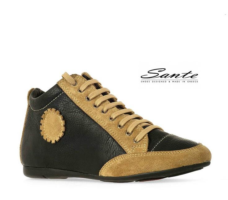 Αθλητικό παπούτσι Sante από συνθετικό δέρμα και λεπτομέρειες από καστόρι, με κορδόνια. Πατάκι δερμάτινο.