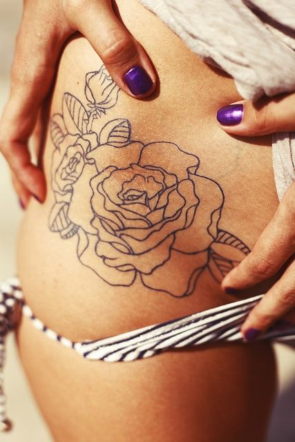 Flower Tattoo, Outline - No Fill interesting idea but i can imagine that it would be difficult to make the lines that thin and consistent