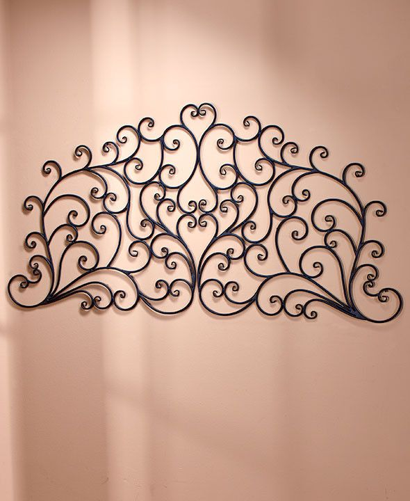 Headboard Queen King Wall Mounted Metal Scroll Medallion Bedroom Decor Light NEW