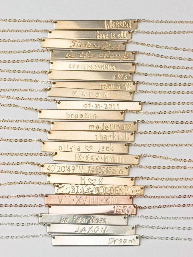 Bridesmaid gift idea - Etsy Bar Necklace, Personalized Name Plate Necklace, Gold, Silver, Rose Gold Name Bar Necklace: Layered a