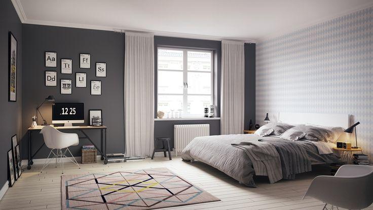 chambre scandinave grise et blanche moderne avec tapis à motifs géométriques
