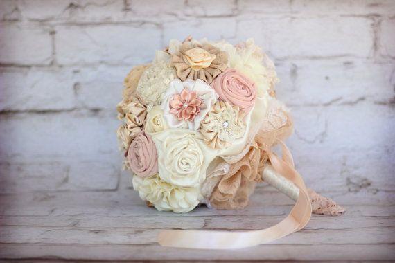 wedding  Bouquet Fabric rustic Bridal Bouquet by MySecretFace