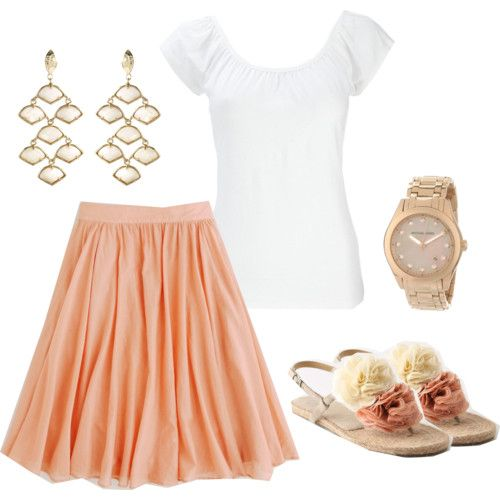 rose gold: Shoes, Fashion Style, Cute Outfits, Coral Skirt, Colors, Sandals, Cute Summer Outfits, Summer Clothing, Peaches Skirts